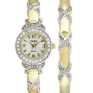 Watch & Bracelet Bangle Set with Genuine Crystals